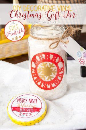 DIY Decorative Vinyl Christmas Gift Jar