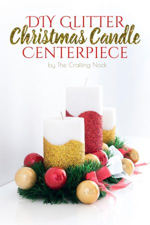 DIY Glitter Christmas Candle Centerpiece