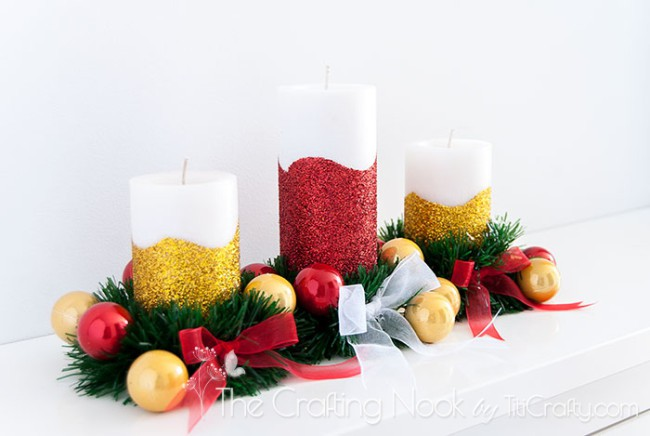 DIY-Glitter-Christmas-Candle-Centerpiece-easy