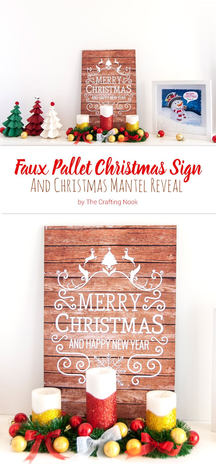 Faux Pallet Christmas Sign and Christmas Mantel Reveal