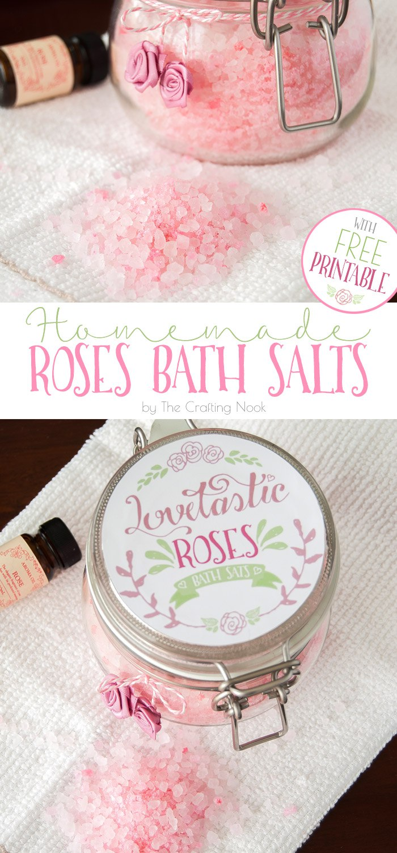 Homemade Roses Bath Salts + Free Printable #bathsaltsdiy #homemadebathsalts #rosesessentialoils