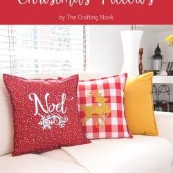 DIY Easy Red and White Christmas Pillows #Christmas #Christmasdecorations #Silhouettechanllenge