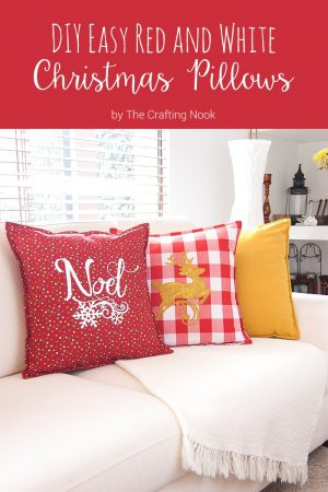 DIY Easy Red and White Christmas Pillows