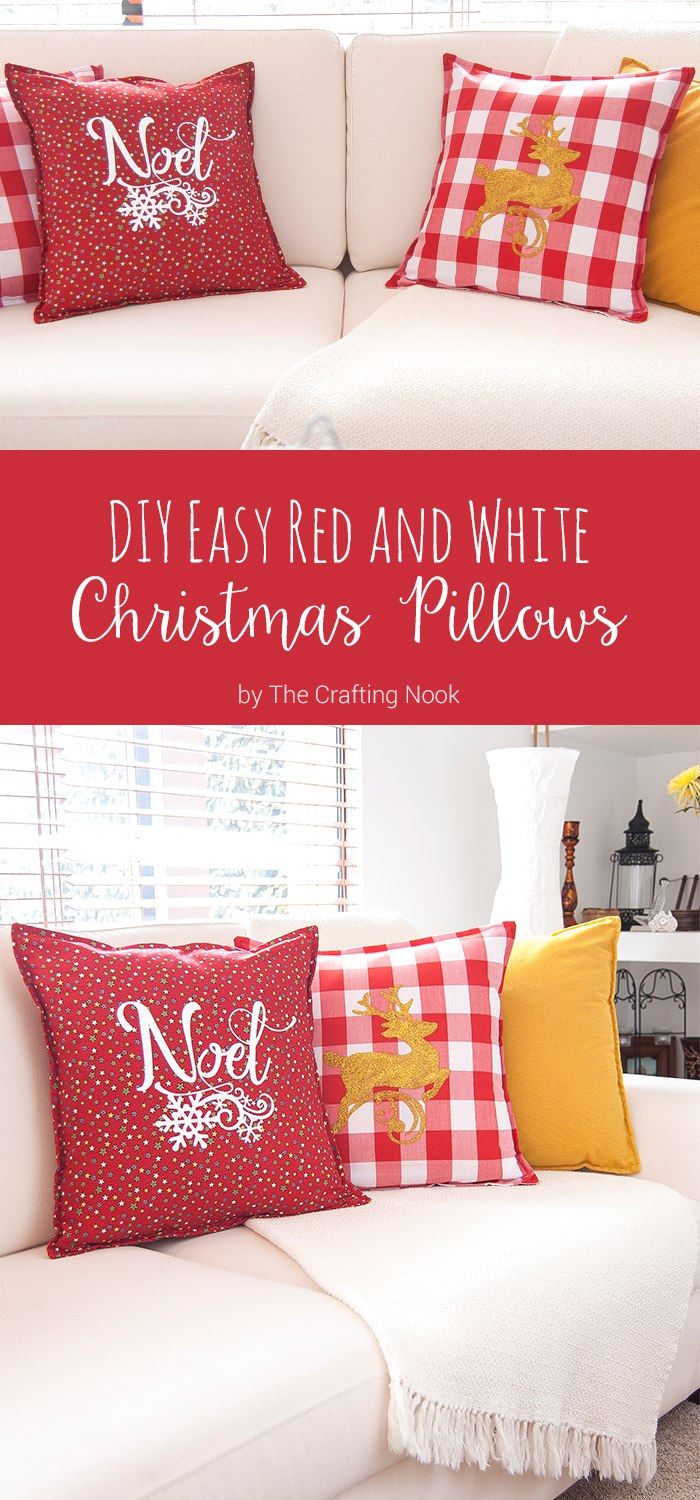 How to DIY Easy Red and White Christmas Pillows #Christmas #Christmasdecorations #Silhouettechanllenge