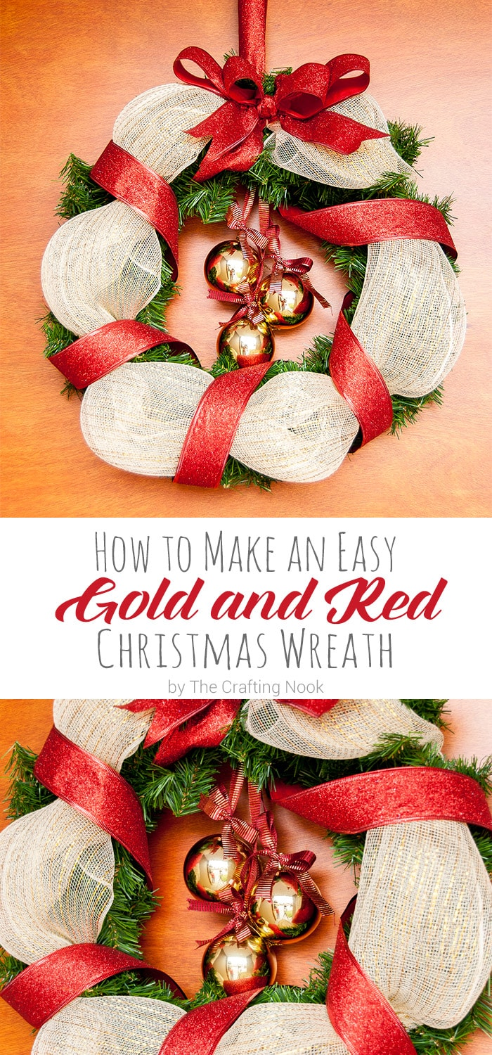 How to Make an Easy Red and Gold Christmas Wreath