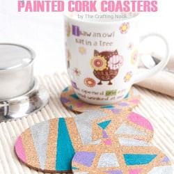 Cute DIY Geometric Painted Cork Coasters