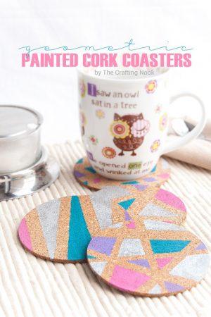 DIY Geometric Painted Cork Coasters