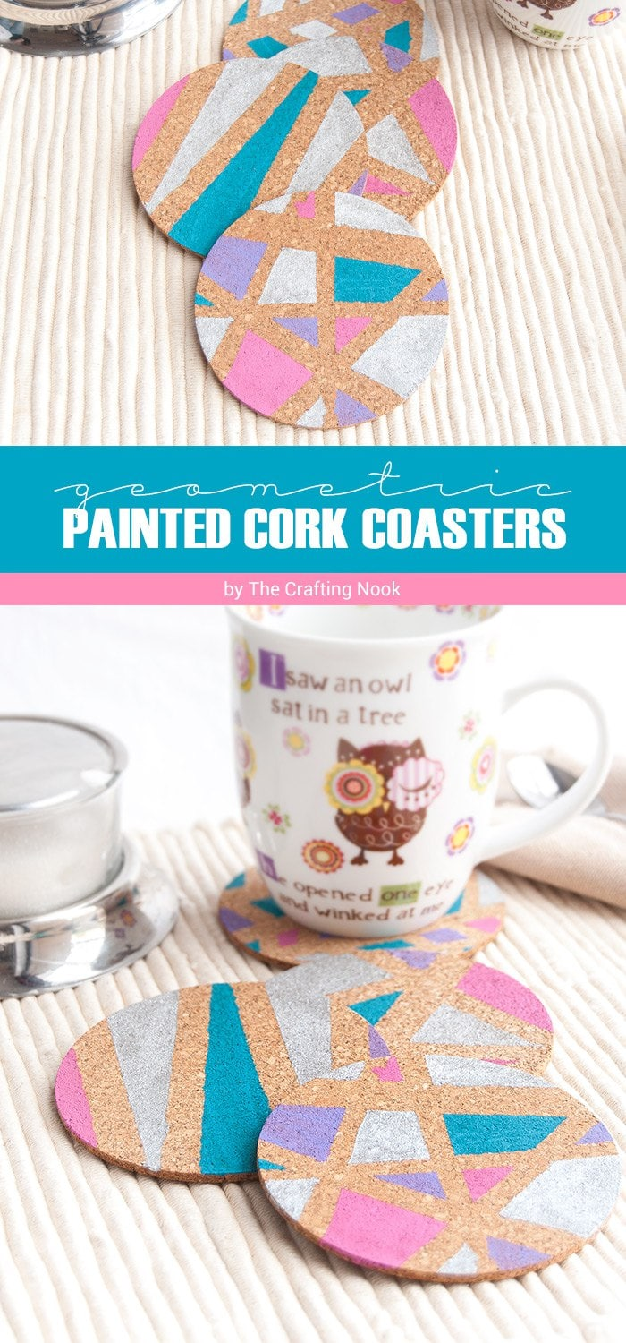 DIY Geometric Painted Cork Coasters Tutorial