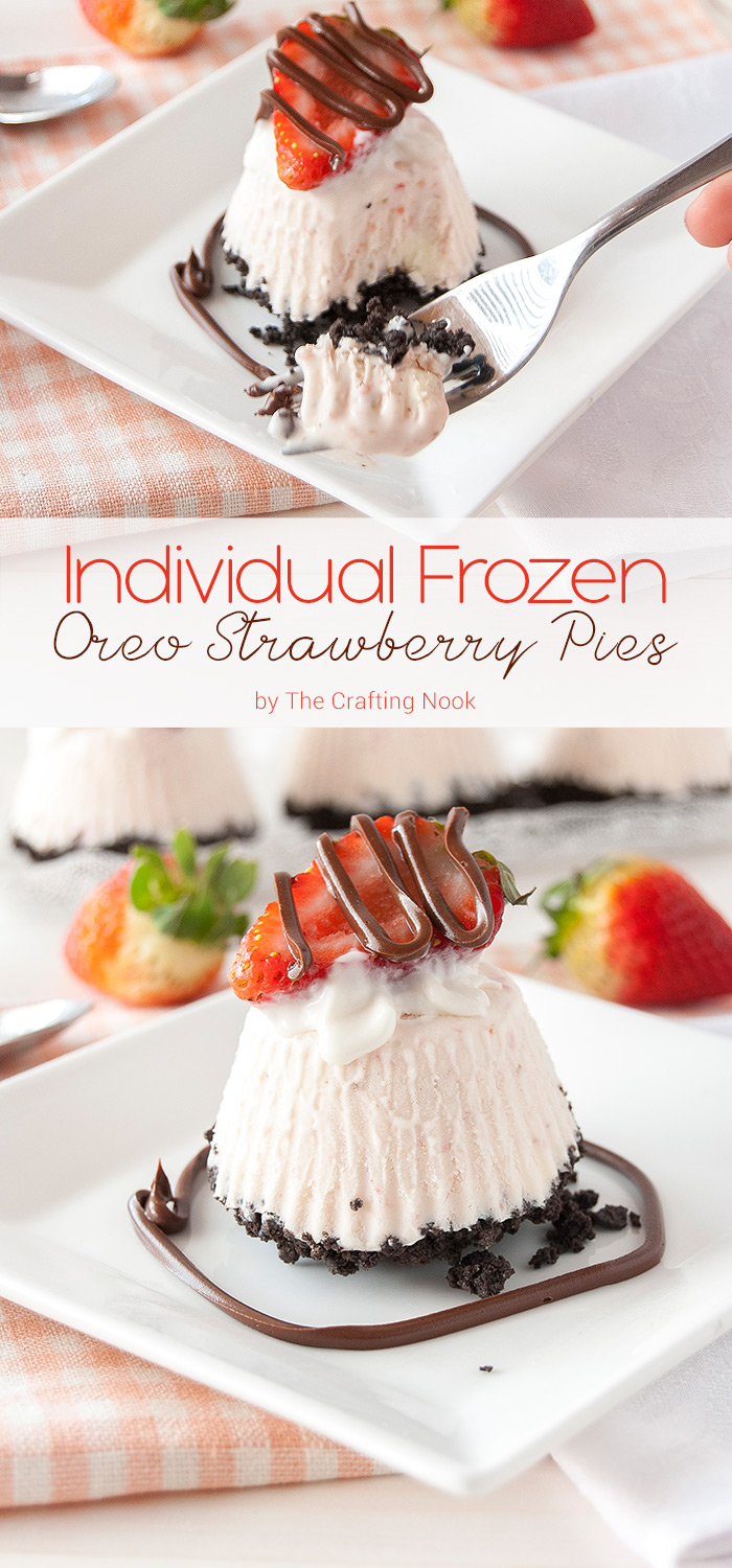 These individual frozen Oreo strawberry pies are so addictive and a delicious mix of flavors perfect for any occasion but specially for romantic ones! You will LOVE these!