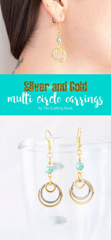 DIY Silver and Gold Multi Circle Earrings Tutorial