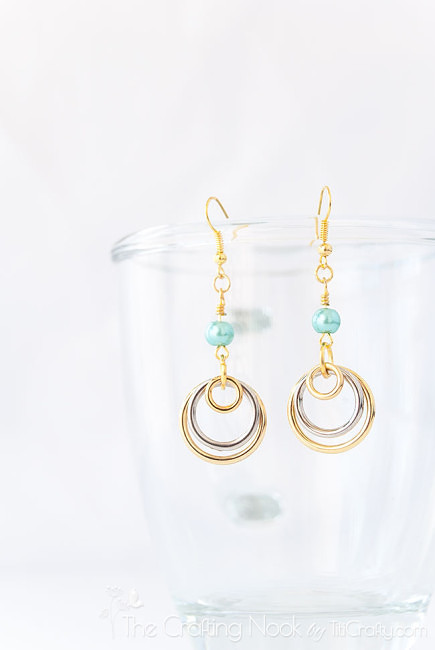 Silver-and-Gold-Multi-circle-Earrings-Turquoise-Bead