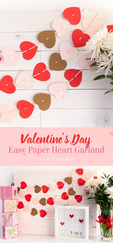 Valentine's Day Easy Paper Heart Garland