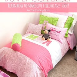 How to make a Duvet cover Set for Girls? Also learn how to make cute pillowcases too!