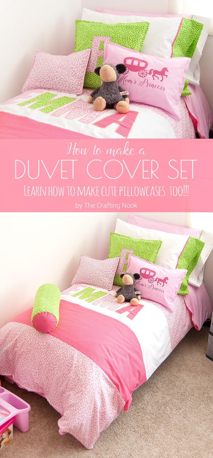 How to make a Duvet cover Set for Girls and also learn how to make cute pillowcases too!