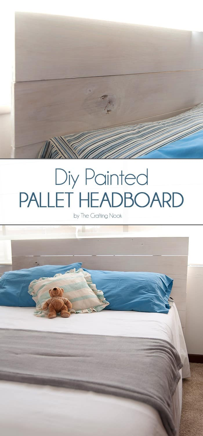 Diy painted pallet headboard the crafting nook by titicrafty for Painted on headboard