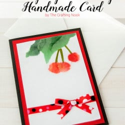 BiriBiri Art Series: Cute Cherry Paper Painting Handmade Card