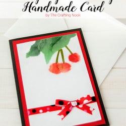 BiriBiri Art Series: Cute Cherry Paper Painting Handmade Card