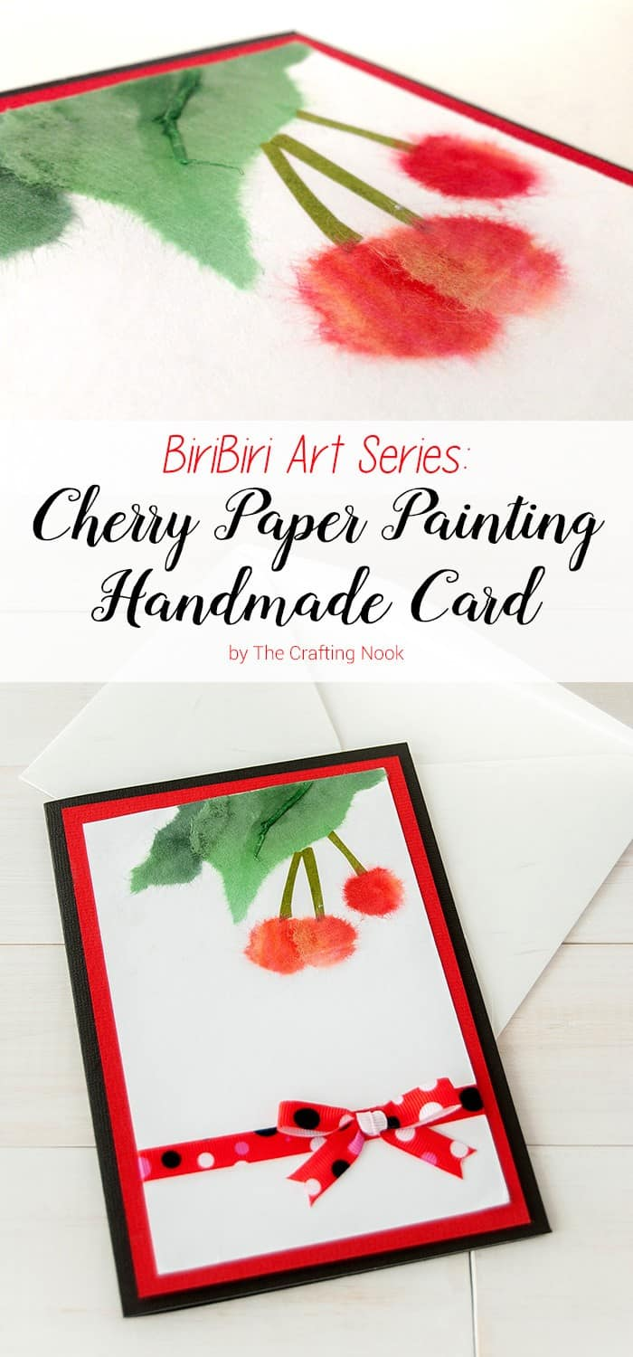 BiriBiri Art Series: Cherry Paper Painting Handmade Card