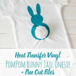 Cute Heat Transfer Vinyl Pompom Bunny Tail Onesie