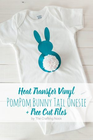 Heat Transfer Vinyl Pompom Bunny Tail Onesie (with free cutting file)