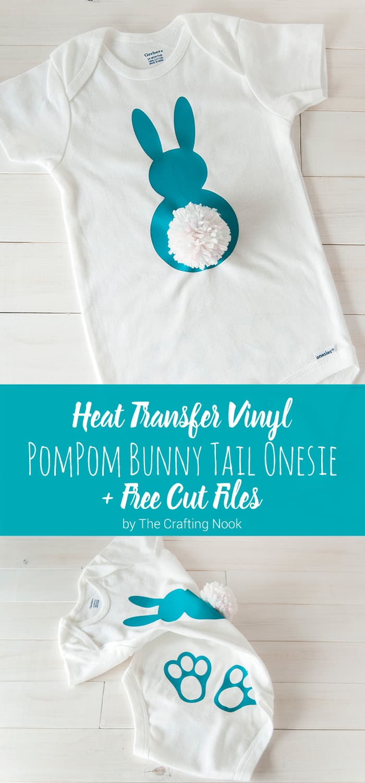 Heat Transfer Vinyl Pompom Bunny Tail Onesie