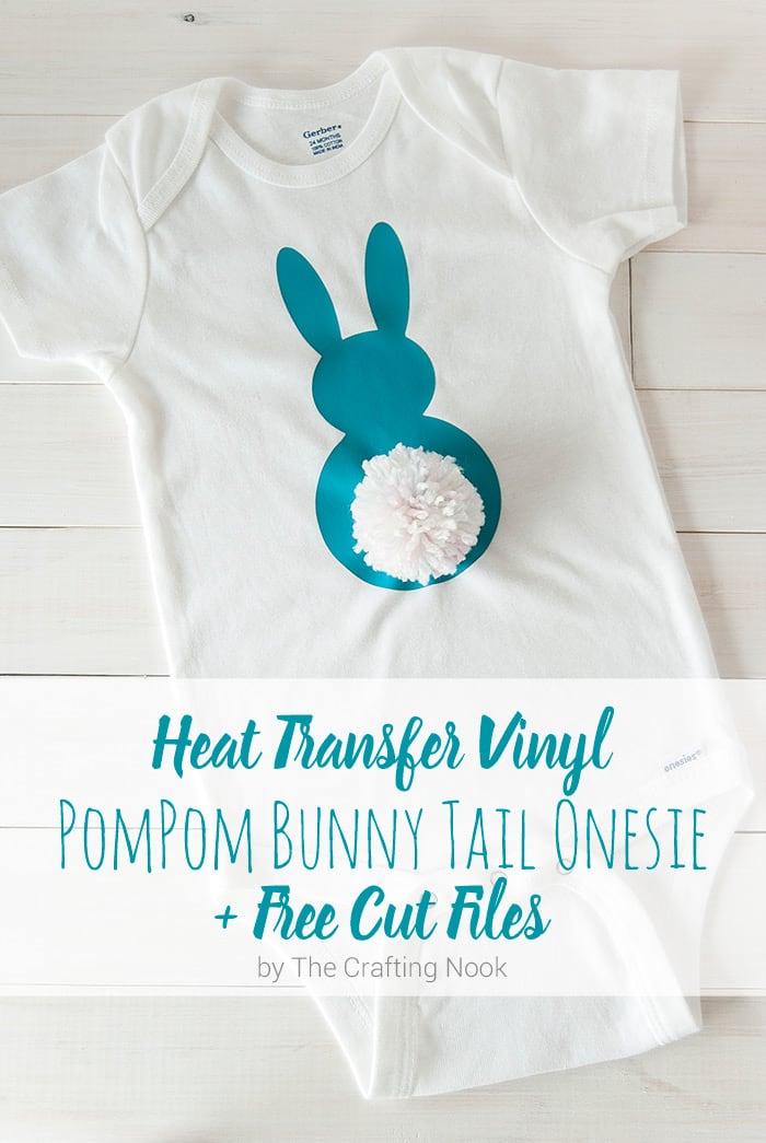 Cute Heat Transfer Vinyl Pompom Bunny Tail Onesie