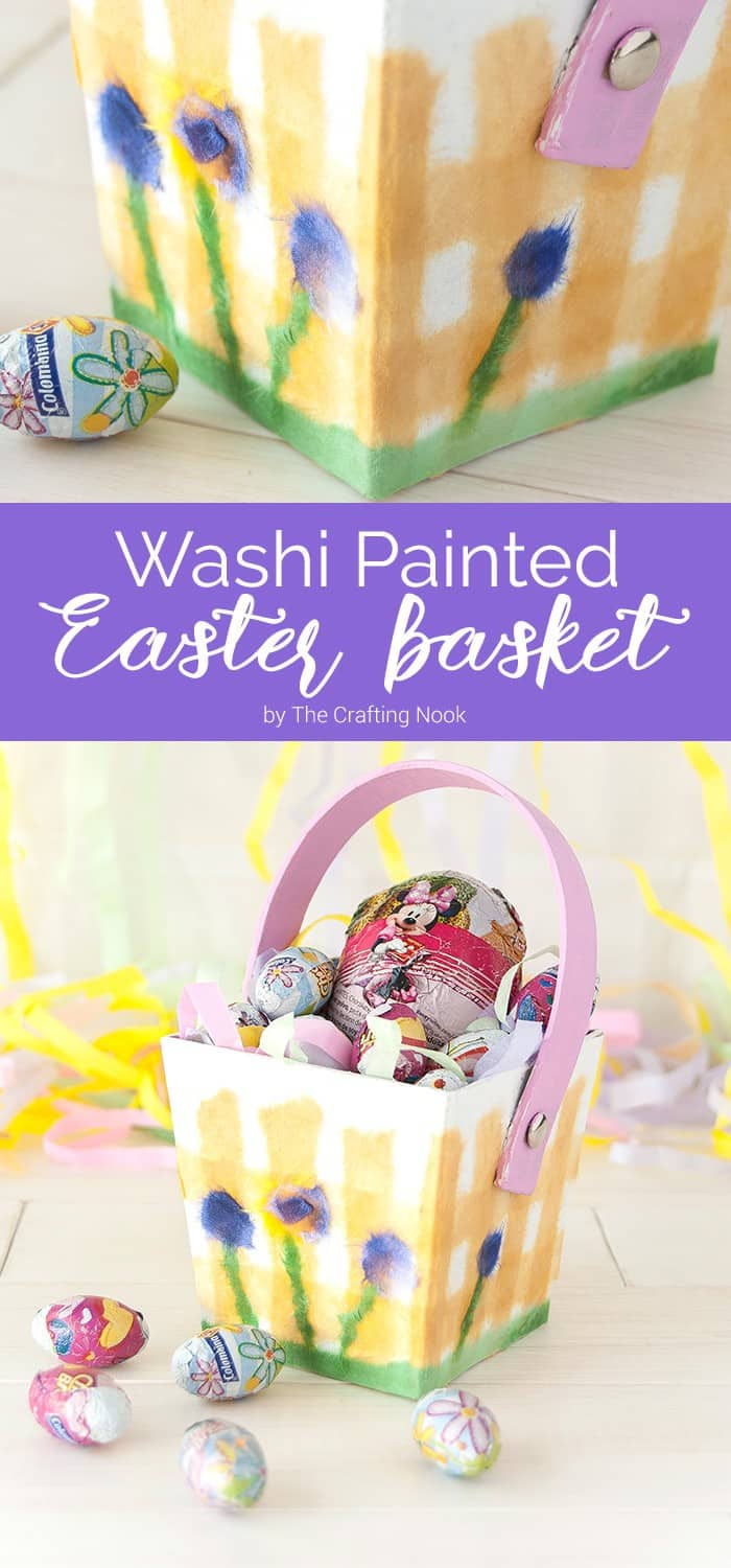Washi Painted Easter Basket. Cute and Easy Craft!
