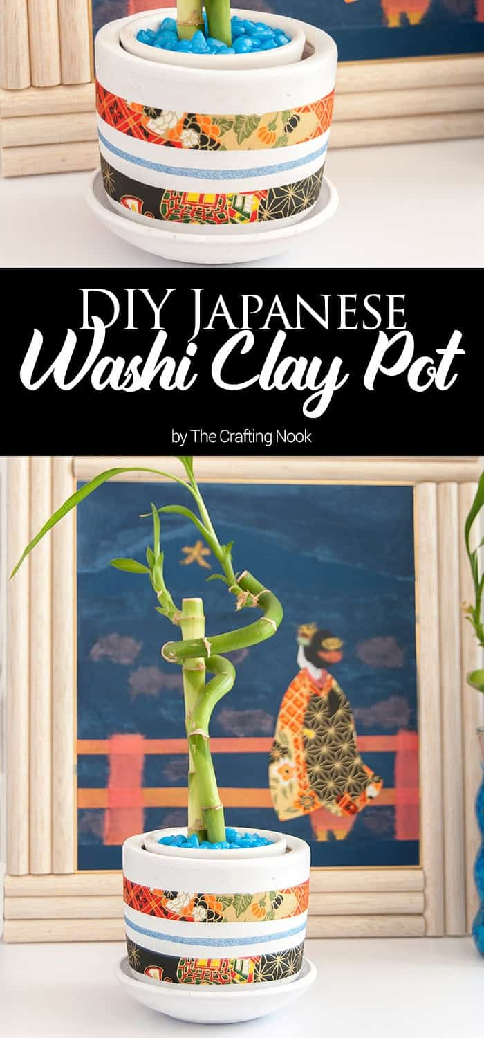 DIY Japanese Washi Clay Pot