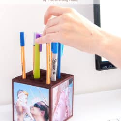 Cute Photo Memories Wooden Block Pencil Holder