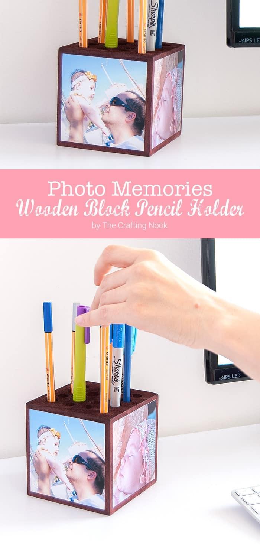 Photo Memories Wooden Block Pencil Holder