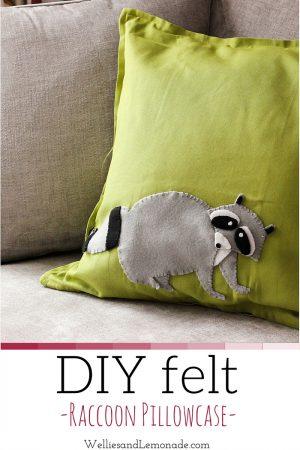 DIY Felt Raccoon Pillowcase
