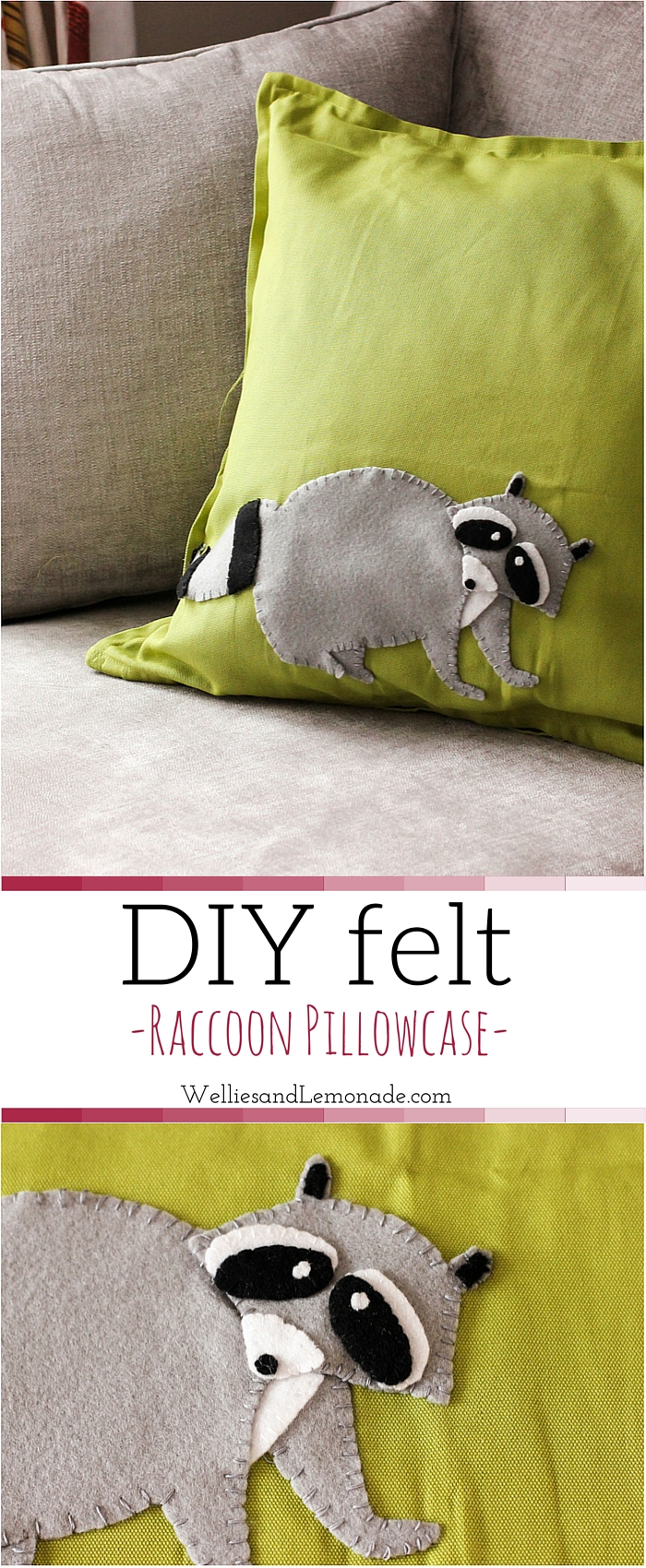 DIY Felt Raccoon Pillowcase