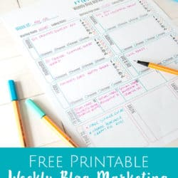 Cute Weekly Blog Marketing Free Printable