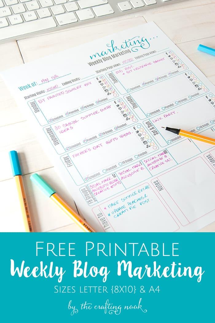 Cute Weekly Blog Marketing Free Printable
