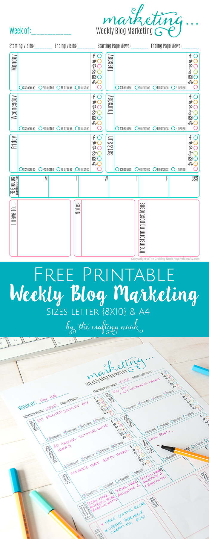Weekly Blog Marketing Free Printable