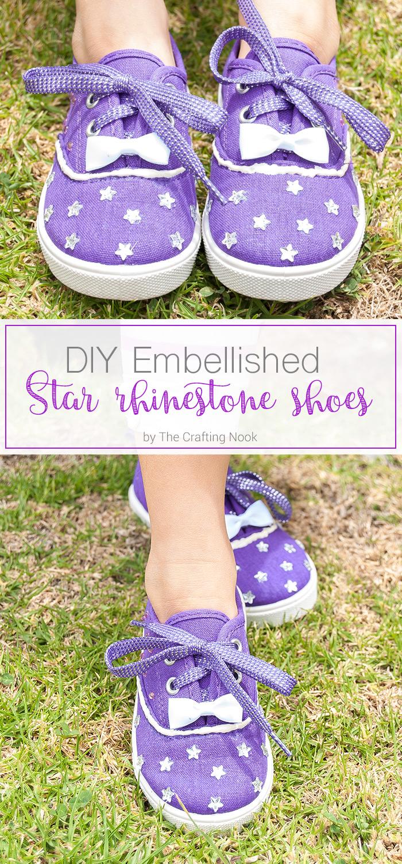 DIY Embellished Star Rhinestone Shoes