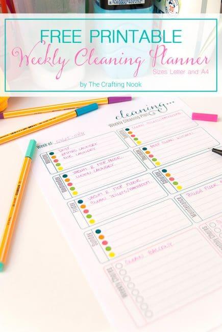 Fun Free Weekly Cleaning Planner Printable