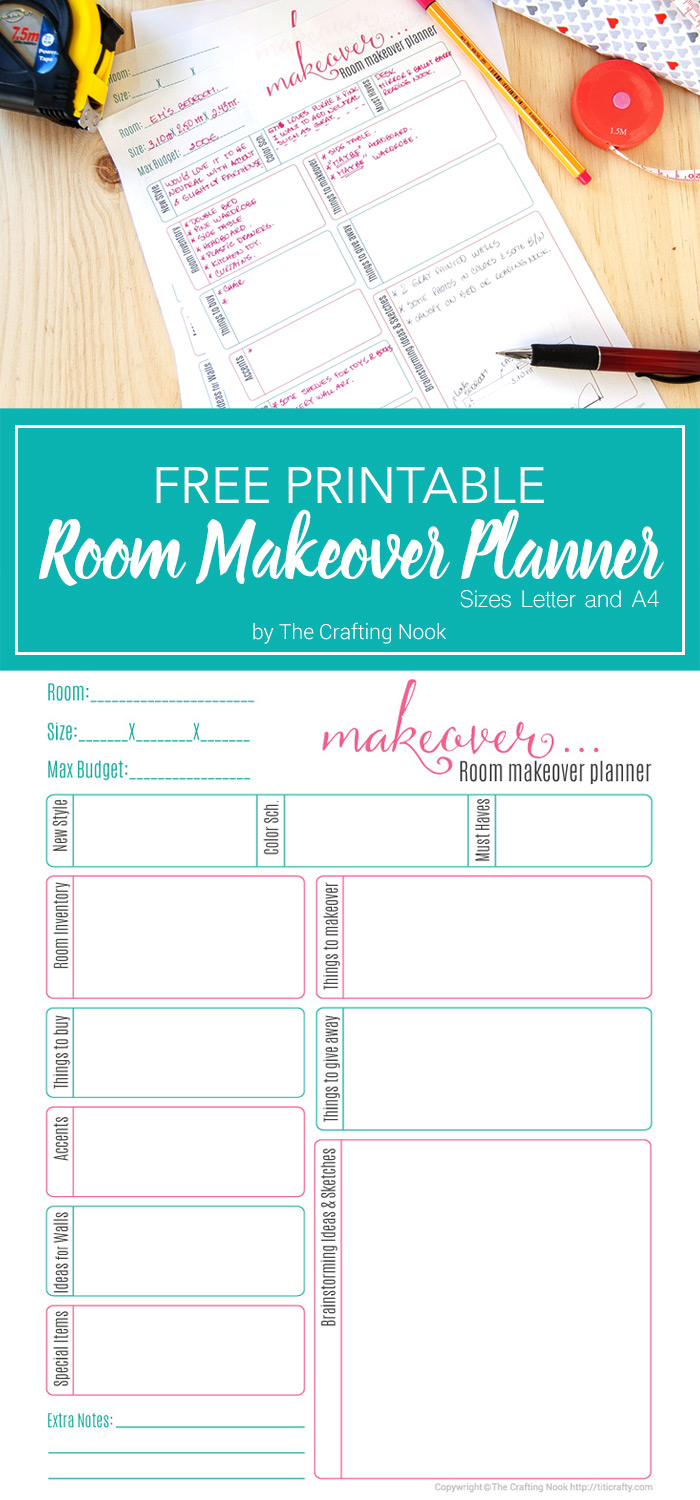 Free room makeover planner printable the crafting nook Room planner free