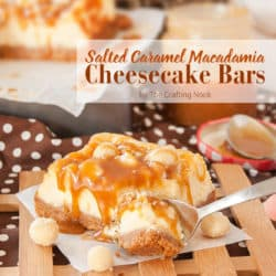 Delicious Salted Caramel Macadamia Nut Cheesecake Bars