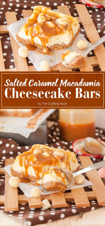 Salted Caramel Macadamia Cheesecake Bars
