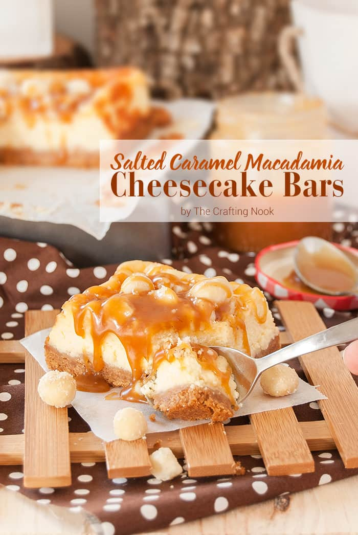 Delicious Salted Caramel Macadamia Cheesecake Bars