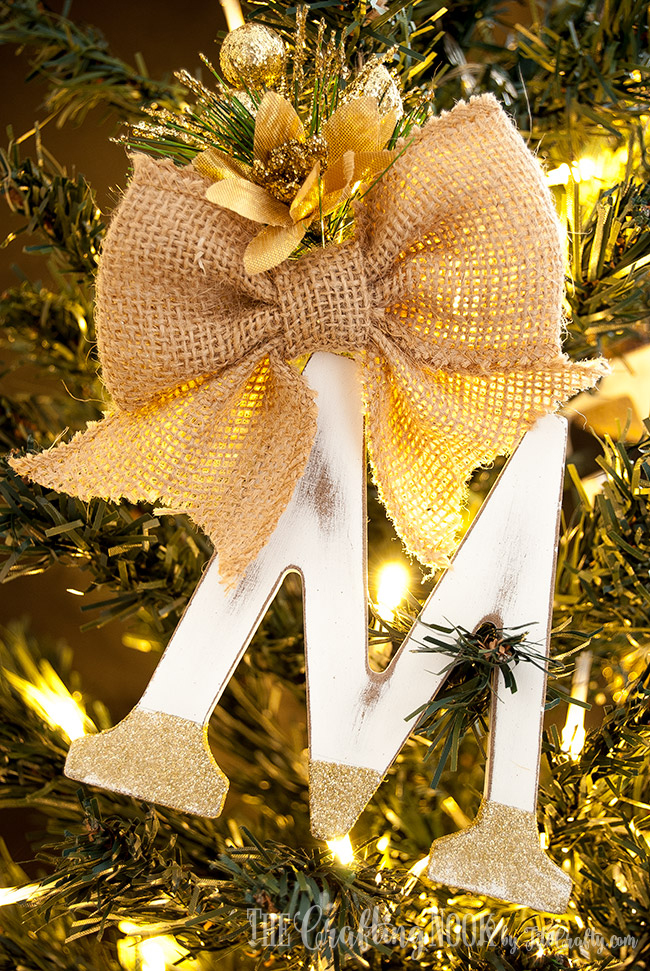 Gorgeous M for the Rustic Monogram Christmas Ornaments