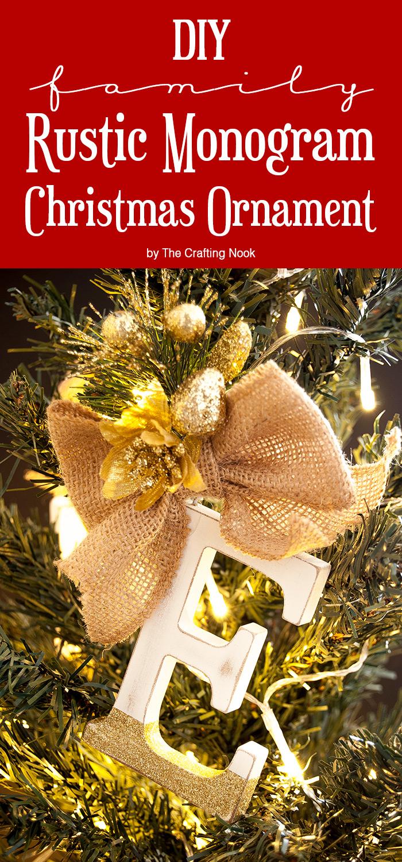 Family Rustic Monogram Christmas Ornaments Tutorial for PINterest