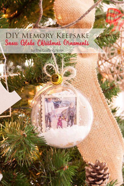 Cute DIY Memory Keepsake Snow Globe Christmas Ornaments