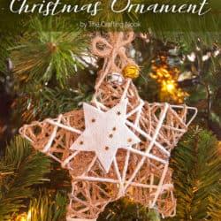 Rustic Glittered Twine Star Christmas Ornament
