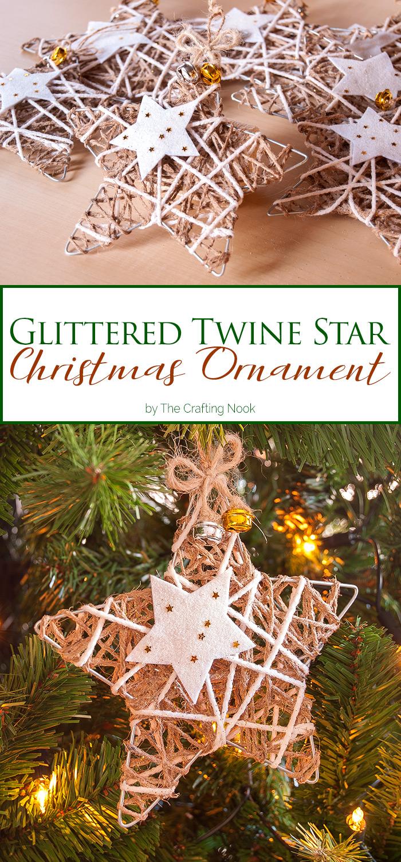 Glittered Twine Star Christmas Ornament