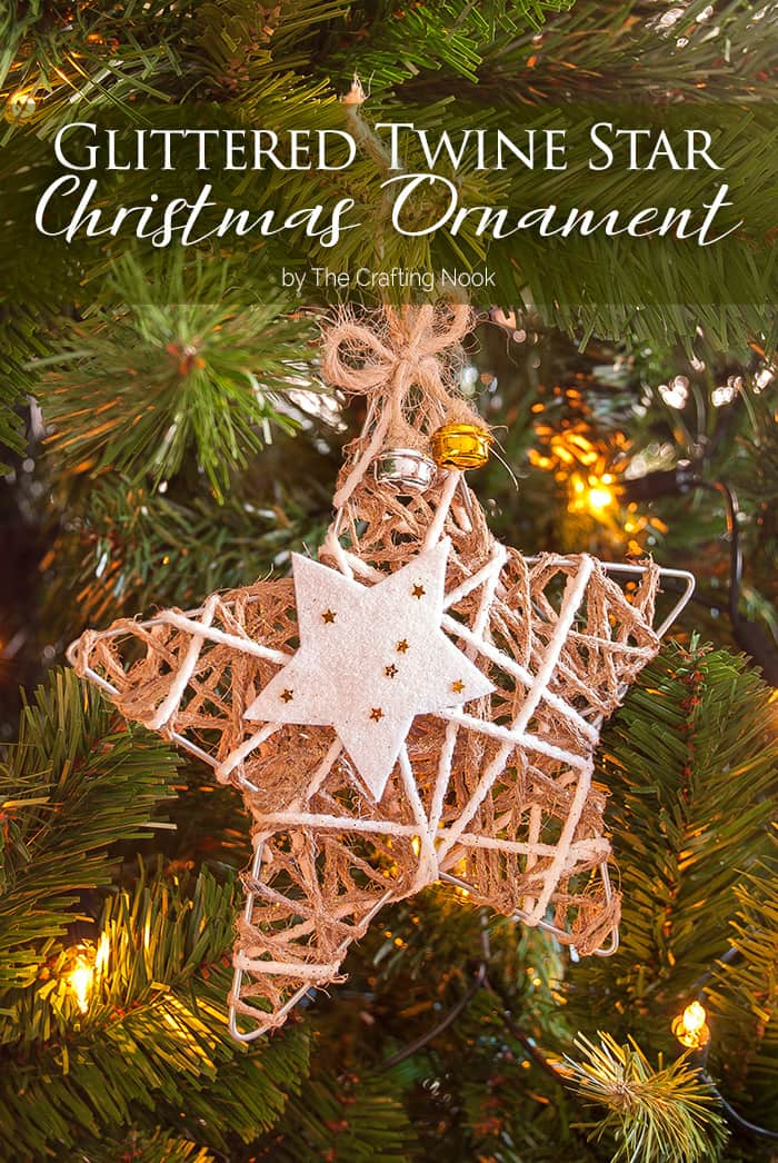 Rustic Glittered Twine Star Christmas Ornament