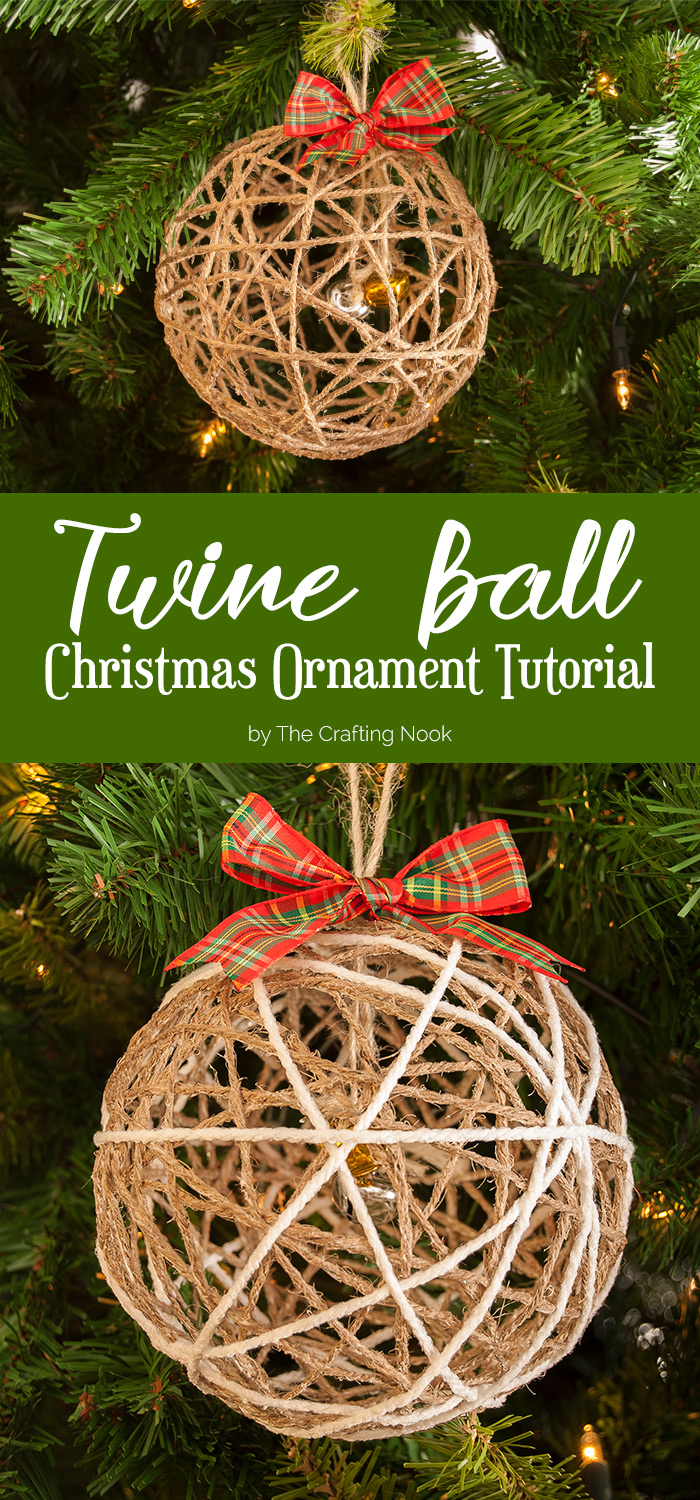 Twine ball christmas ornament tutorial the crafting nook for Make at home christmas decorations