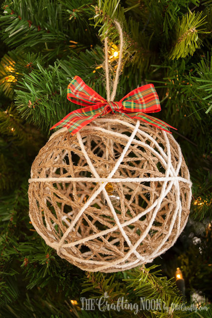 DIY Twine Ball Christmas Ornament Tutorial