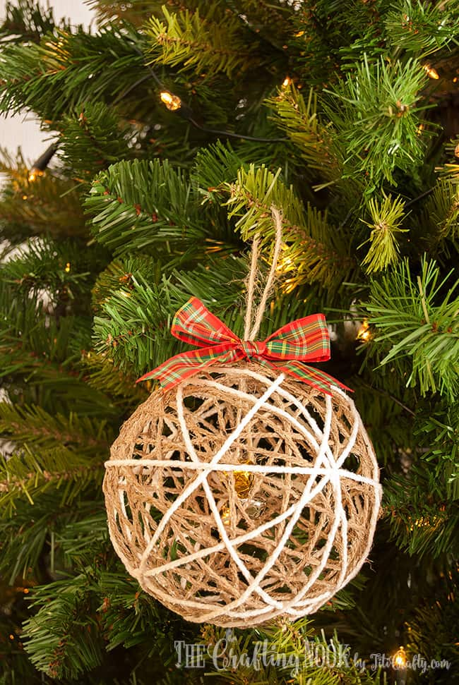 Cute DIY Twine Ball Christmas Ornament